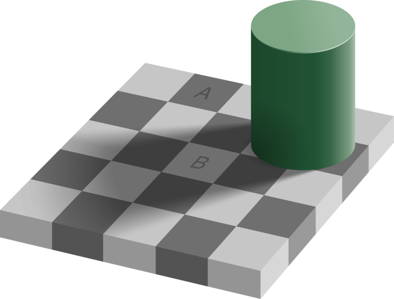A visual illusion showing a checker board with squares that seem to be of different lightness because of the context in which they appear.