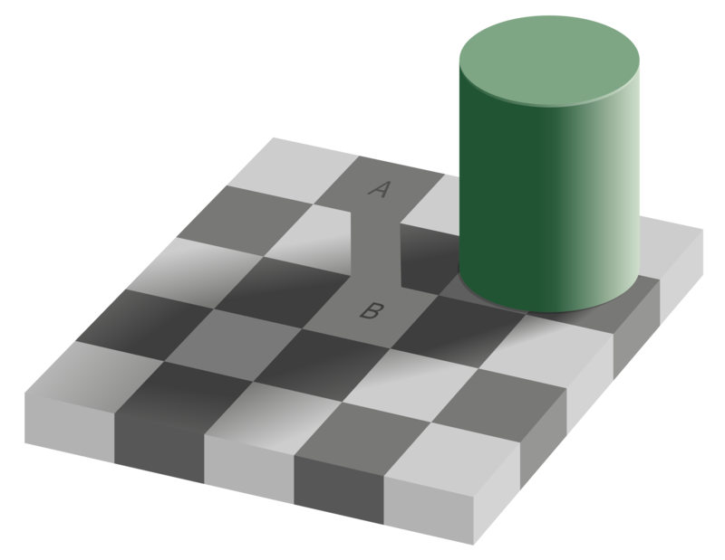 The same image as before, with the two equally colored squares connected with the same color.